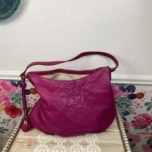 Rare Tory Burch Thea Pebbled Leather Hobo Bag in Wildflower Pink